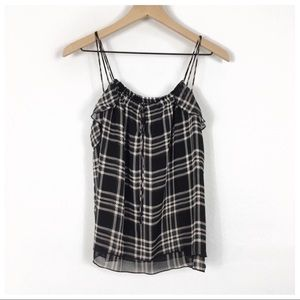 Express Black & Pink Plaid Ruffle Tank Top